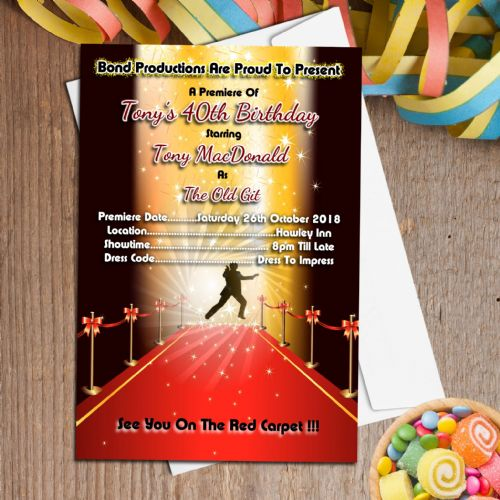 10 Personalised James Bond Themed Red Carpet Party Invitations N38